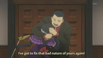 Hideyoshi trying to beat some sense into Eva